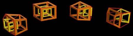 Bayangan 3-dimensi hiperkubus berotasi