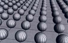 Dua dimensi tambahan dapat dilambangkan dengan bola