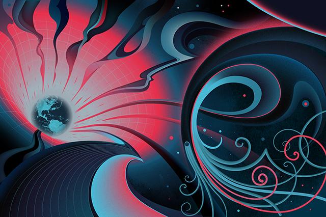 Einstein menjelaskan gravitasi adalah lengkungan di ruang dan waktu, tapi fisikawan sudah lama mencari teori graviton, tersangka sumber skala quantumnya. (Sam Chivers untuk Quanta Magazine)